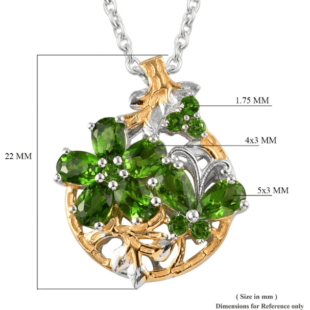 Chrome Diopside Necklace in Yellow Gold & Platinum over Sterling Silver Gemstone Collectors U.S.