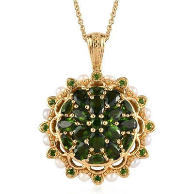 Chrome Diopside & Pearl Necklace in Vermeil 14K Yellow Gold over Sterling Silver Gemstone Collectors U.S.