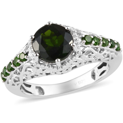 Chrome Diopside Ring in Platinum over Sterling Silver Gemstone Collectors U.S.