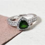 Chrome Diopside Trillion & White Zircon Halo Ring in Platinum over Sterling Silver Gemstone Collectors U.S.
