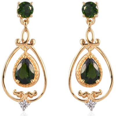 Chrome Diopside & White Zircon Dangle Earrings in Yellow Gold over Sterling Silver Gemstone Collectors U.S.