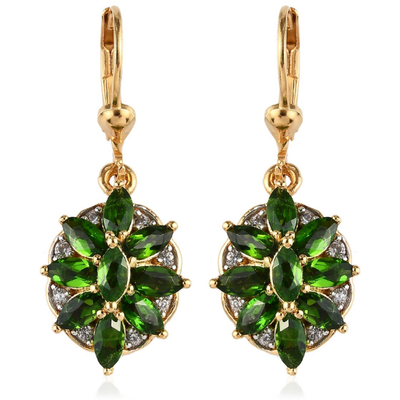 Chrome Diopside & White Zircon Earrings in Yellow Gold over Sterling Silver Gemstone Collectors U.S.
