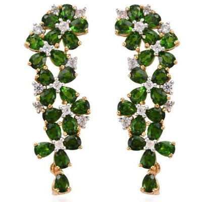Chrome Diopside & White Zircon Floral Earrings in Yellow Gold over 925 Sterling Silver 8.82ctw Gemstone Collectors US