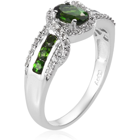 Chrome Diopside & White Zircon Halo Ring in Platinum over Sterling Silver Gemstone Collectors U.S.