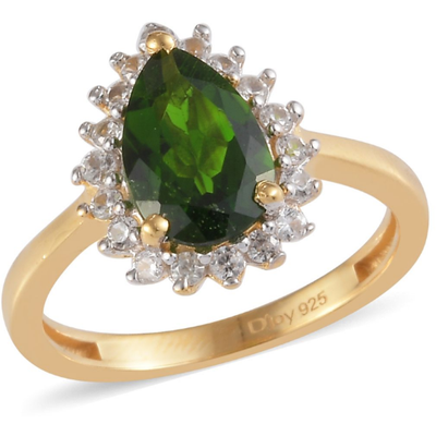 Chrome Diopside & White Zircon Halo Ring in Yellow Gold over Sterling Silver Gemstone Collectors U.S.