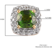 Chrome Diopside & White Zircon Halo Stud Earrings in Yellow Gold over Sterling Silver Gemstone Collectors U.S.