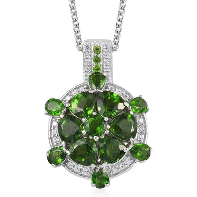 Chrome Diopside & White Zircon Necklace in Platinum over Sterling Silver Gemstone Collectors U.S.