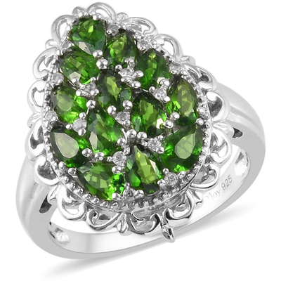 Chrome Diopside & White Zircon Ring in Platinum over Sterling Silver Gemstone Collectors U.S.