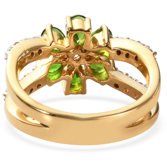 Chrome Diopside & White Zircon Split Ring in Yellow Gold over Sterling Silver Gemstone Collectors U.S.