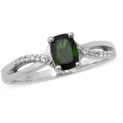 Chrome Diopside & White Zircon Split Shank Ring in Platinum over Sterling Silver Gemstone Collectors U.S.