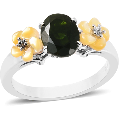 Chrome Diopside & Yellow Mother of Pearl Carved Flower Ring in Platinum over Sterling Silver Gemstone Collectors U.S.