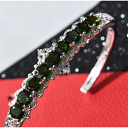 "Chrome Diopside & Zircon Cuff Bracelet in Platinum over Sterling Silver (7.25"") Gemstone Collectors U.S."