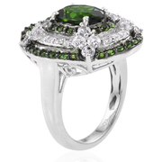 Chrome Diopside & Zircon Designer Halo Ring in Platinum over Sterling Silver Gemstone Collectors U.S.