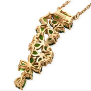 "Chrome Diopside & Zircon Floral Necklace (18"") in Yellow Gold over 925 Sterling Silver 4.02ctw Gemstone Collectors US"