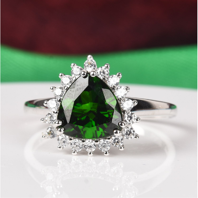 Chrome Diopside & Zircon Trillion Halo Ring in 10K White Gold Gemstone Collectors U.S.