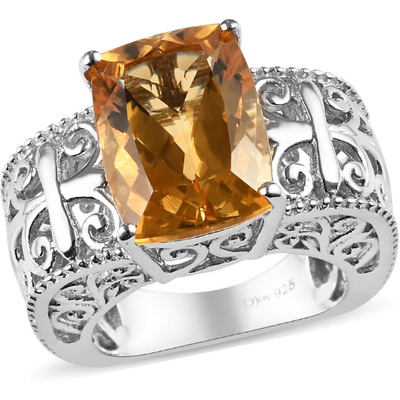 Citrine Euro Solitiare Ring in Platinum over Sterling Silver Gemstone Collectors U.S.