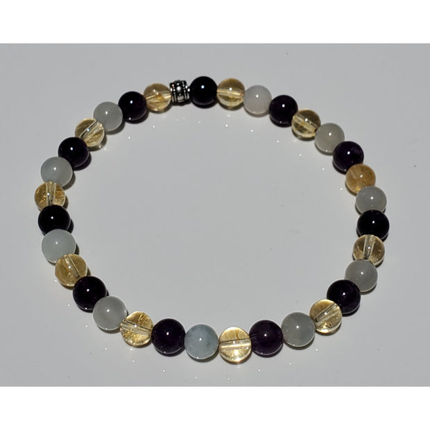 Citrine, Grey Moonstone and Amethyst Mala Bracelet Mindful Creations by Gloria