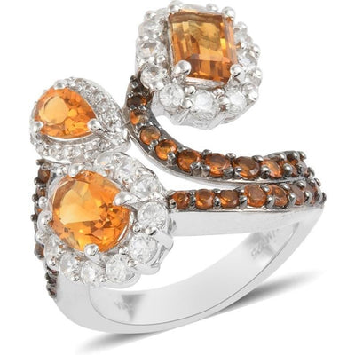 Citrine & Multi Gemstone Bypass Ring in Platinum over Sterling Silver Gemstone Collectors U.S.
