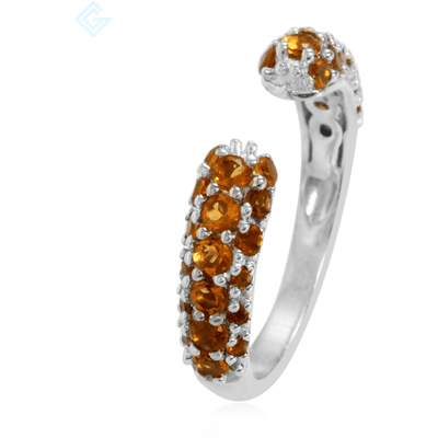 Citrine Open Split Ring in Platinum over Sterling Silver Gemstone Collectors U.S.
