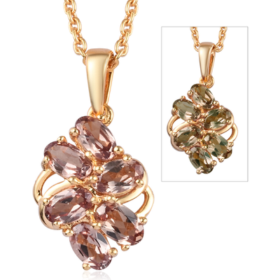 Color Change Garent Necklace in Yellow Gold Over over Sterling Silver Gemstone Collectors U.S.