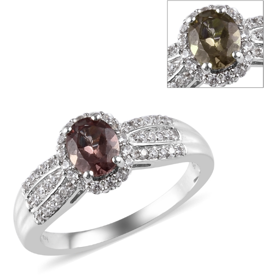 Color Change Garnet & White Zircon Ring in Platinum over Sterling Silver Gemstone Collectors U.S.