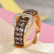 Color Change Garnet & Zircon Buckle Ring in Yellow Gold over Sterling Silver Gemstone Collectors U.S.