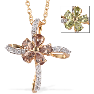 Color Change Garnet & Zircon Cross Necklace in Yellow Gold over Sterling Silver Gemstone Collectors U.S.