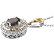"Color Change Garnet & Zircon Halo Pendant Necklace 20"" in Yellow Gold & Platinum over Sterling Silver Gemstone Collectors U.S."