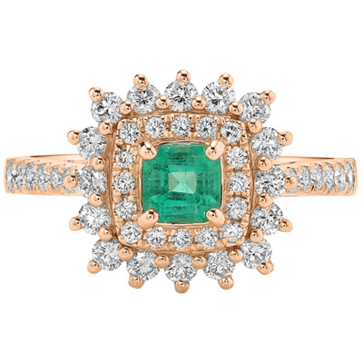 Columbian Emerald & Diamond Double Halo Ring in 14K Rose Gold Gemstone Collectors U.S.