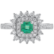 Columbian Emerald & Diamond Double Halo Ring in 14K White Gold Gemstone Collectors U.S.