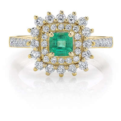 Columbian Emerald & Diamond Double Halo Ring in 14K Yellow Gold Gemstone Collectors U.S.