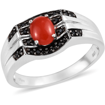 Coral & Black Spinel Men's ring in Platinum over Sterling Silver Gemstone Collectors US