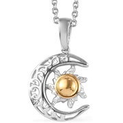 Crescent Moon Necklace in 14K Yellow Gold & Platinum over Sterling SIlver Gemstone Collectors U.S.