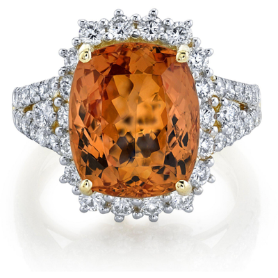 Cushion Cut Imperial Topaz & Diamond 14k Yellow Gold Halo Ring Gemstone Collectors U.S.