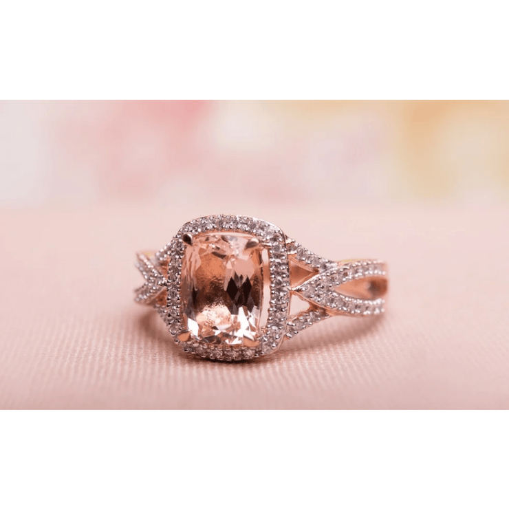 Cushion Morganite & Diamond Halo Ring in 10K Rose Gold Gemstone Collectors U.S.
