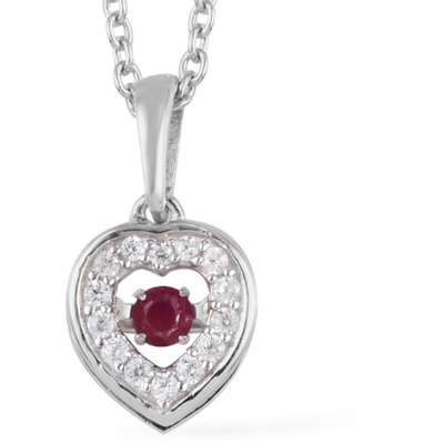 Dancing Ruby & White Zircon Heart Necklace in Platinum over Sterling Silver Gemstone Collectors U.S.