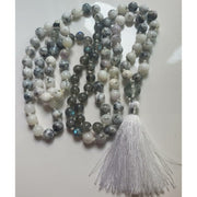 Dendritic Agate, Labradorite and Phantom Quartz Mala Necklace Mindful Creations by Gloria
