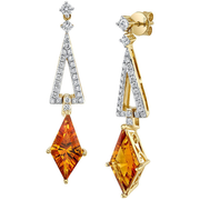 Designer Citrine & Diamond 14k Yellow Gold Dangle Earrings Gemstone Collectors U.S.
