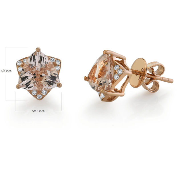 Designer Morganite Trillion & Diamond Stud Earrings in 14k Rose Gold Gemstone Collectors U.S.