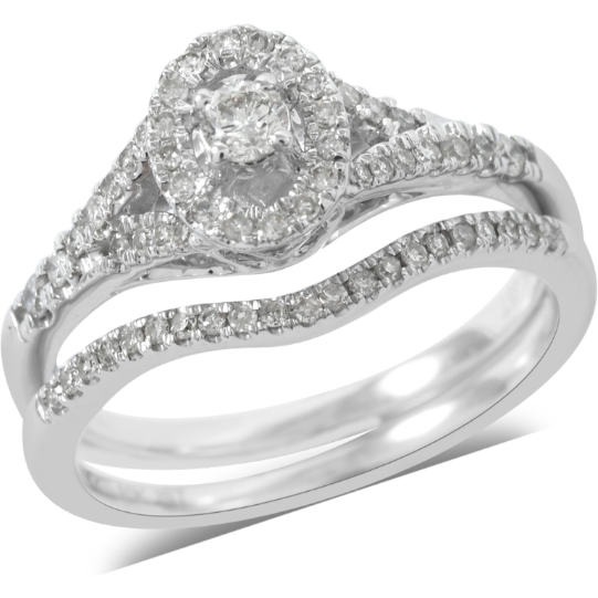 Diamond Bridal Set in 10K White Gold Gemstone Collectors U.S.