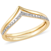 Diamond Chevron Band Two Ring Ring Set 14K Yellow Gold over Sterling Silver 0.20ctw Gemstone Collectors U.S.