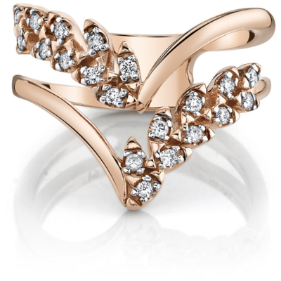 Diamond Chevron Ring in 14K Rose Gold Gemstone Collectors U.S.