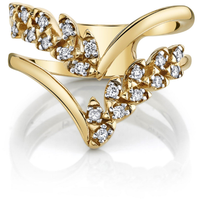 Diamond Chevron Ring in 14K Yellow Gold Gemstone Collectors U.S.