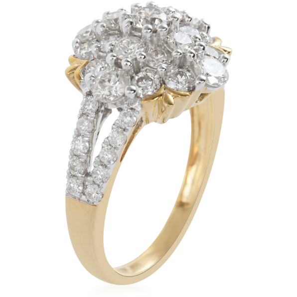 Diamond Cluster Ring in 10K Yellow Gold 1.75ctw Gemstone Collectors U.S.