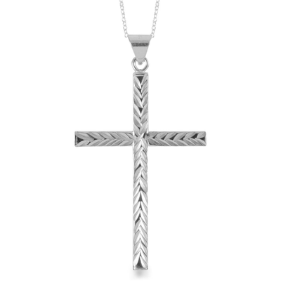 "Diamond Cut Cross Pendant Necklace 18"" in Platinum over Sterling Silver Gemstone Collectors U.S."