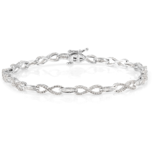 Diamond Infinity Link Bracelet in White Gold 1.00ctw. Gemstone Collectors U.S.