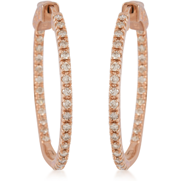 Diamond Inside Out Hoop Earrings in 10K Rose Gold 1.00ctw Gemstone Collectors U.S.