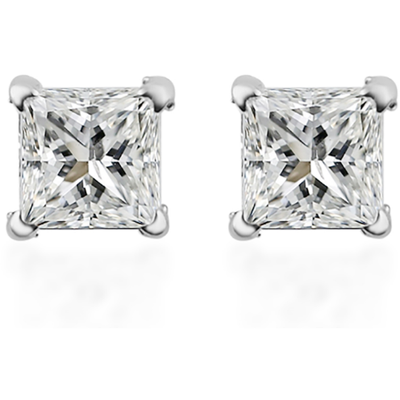 Diamond Square Stud Earrings in 14K White Gold 0.50ctw Gemstone Collectors U.S.