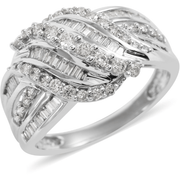 Diamond Waterfall Cocktail Ring in 10K White Gold Gemstone Collectors U.S.