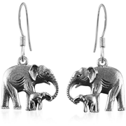 Elephant Mother & Child Dangle Earrings in Platinum over Sterling Silver Gemstone Collectors U.S.